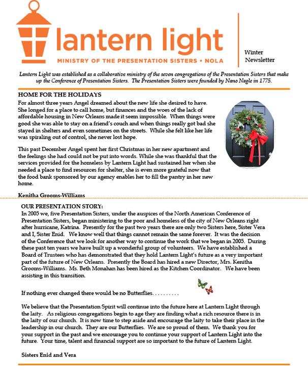 Lantern Light Winter 2016 Newsletter